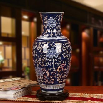 Jingdezhen ceramics high - grade hand - made of trace carved gold, blue and white porcelain vase peony were sitting room home furnishing articles
