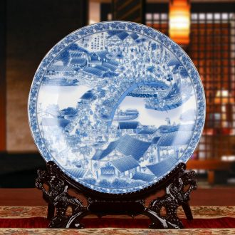 Blue and white porcelain of jingdezhen ceramics tomb - sweeping faceplate hang dish decoration decoration painting decorative plate