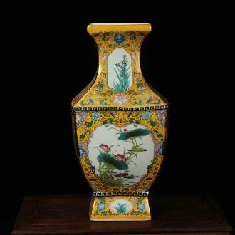 Jingdezhen ceramics vase archaize enamel Mosaic gold yellow square flower vase study living room decoration
