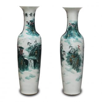 Jingdezhen ceramics hand draw freehand brushwork color ink landscape of large vases, hotel lobby decoration decoration furnishing articles