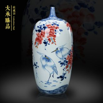 Jingdezhen blue and white youligong hand - made ceramics engraving sabingga sukdun dergici jimbi large vases, modern home decoration