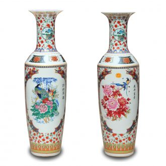 Jingdezhen ceramics powder enamel riches and honor peony flowers and birds landing big vase decorated sitting room adornment is placed in the Ming and the qing dynasties