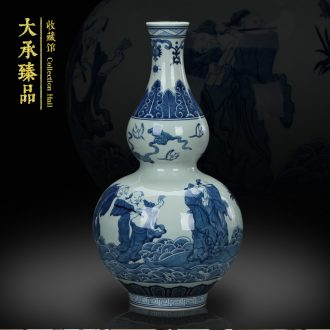 Jingdezhen ceramics hand - made the opened a great sea of blue and white porcelain bottle gourd vase was Chinese style household furnishing articles