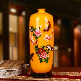 Jingdezhen ceramics palace yellow gold straw have fish peony vases, Chinese style household adornment furnishing articles every year