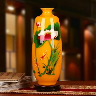 Jingdezhen ceramics in yellow gold straw lotus lotus court more vases, Chinese style decoration decorative furnishing articles