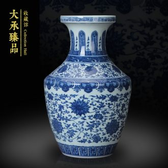 Jingdezhen blue and white antique hand - made ceramics vase bound branch party shoulder vase Chinese study ancient frame furnishing articles