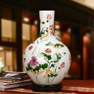 Jingdezhen ceramics powder enamel lotus celestial sphere of large vases, modern rural household crafts are set