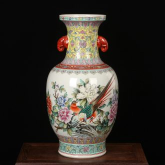 Jingdezhen ceramics factory goods hand - made pastel ears big flower peony vase household handicraft furnishing articles