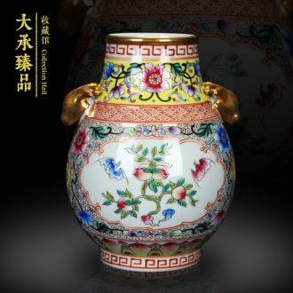 Jingdezhen antique gold enamel ears open flowers deer head altar vase decoration handicraft furnishing articles study