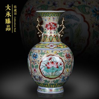 Jingdezhen antique Chinese hand made pastel gold ears open mesa of altar vase, secretary of the sitting room decoration