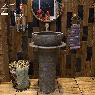Outside the sink basin of pillar type lavatory ceramic simple column balcony one toilet ground pool basin
