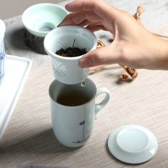The Home office make tea tea tea separation tank ceramic cup cup belt filter with cover keller cup