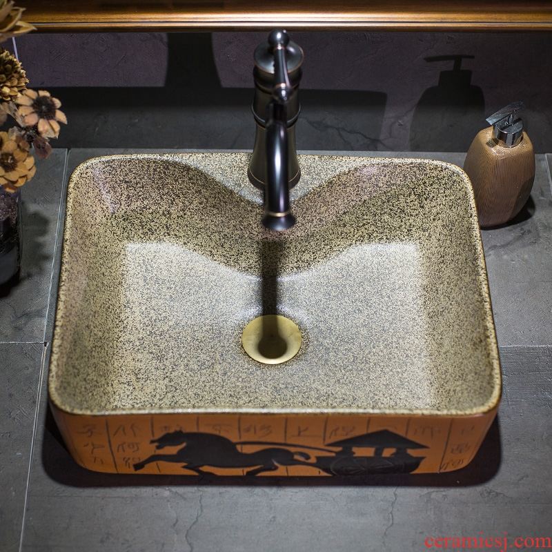 Ceramic art basin on its rectangular balcony toilet text carriage sink basin bathroom wash a face to face basin