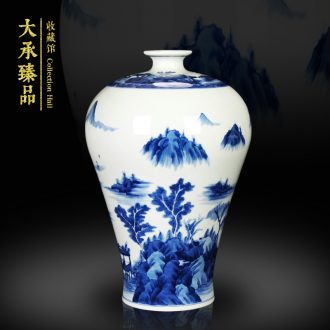 Jingdezhen ceramics vase hand - made of blue and white landscape name plum bottle handicraft furnishing articles set mesa study living room collection