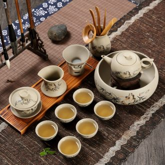 Coarse pottery ZiShaTu pottery kung fu tea sets tea cups tureen ceramic clay home tea tea tea set to Japanese