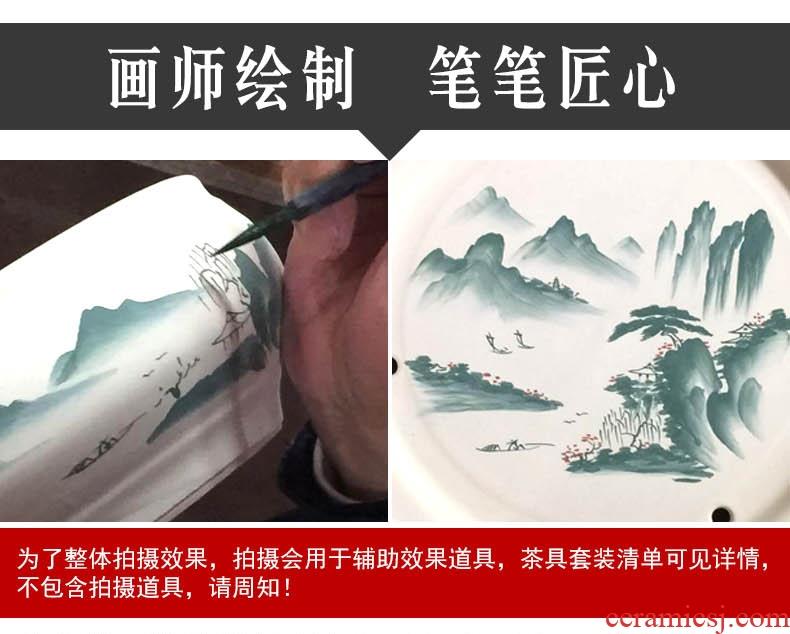 Household longquan celadon lotus carp kung fu tea set ceramic teapot teacup I and contracted style chaoshan