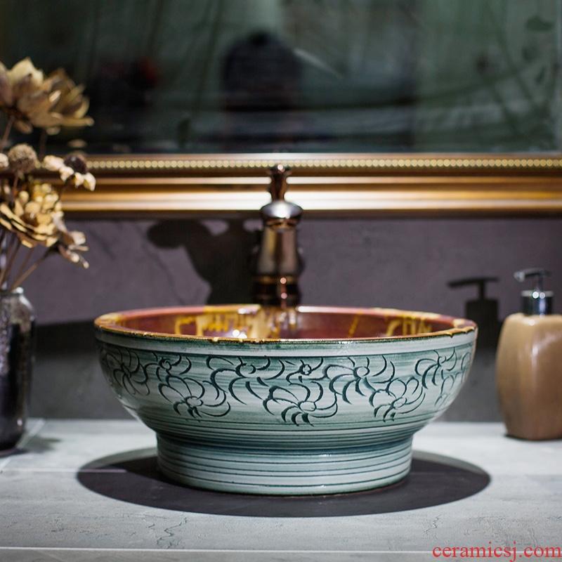 Jingdezhen ceramic stage basin bowl archaize flow glaze art household lavatory toilet lavabo basin
