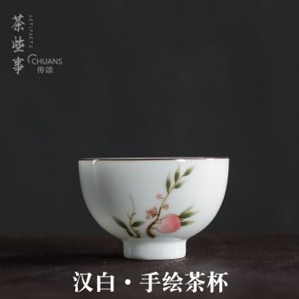 Famed hand - made color short round goblet kung fu master ceramic cups antique small tea cup single cup tea cup