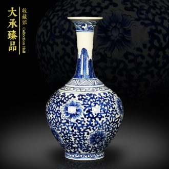 Hand - made trumpet bound branch lotus flower vase of blue and white porcelain of jingdezhen ceramics decoration handicraft collection furnishing articles