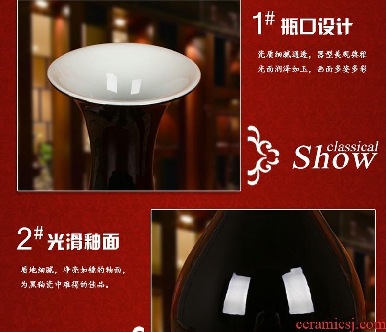 Color black sharply jingdezhen ceramics glaze vase contracted and I household decoration decoration decorative furnishing articles