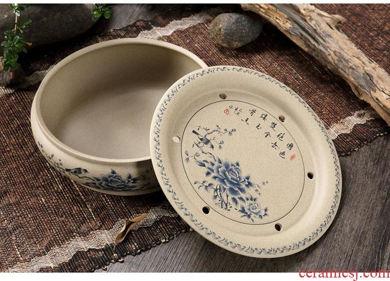Household utensils ceramic purple sand coarse pottery circular circle water kung fu tea tray was single ship tea tea tea set Japanese sea