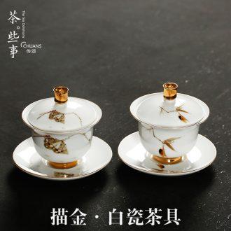 Famed ceramic tea bowl to bowl tureen tea bowl kung fu tea set hand - made paint white porcelain tureen group