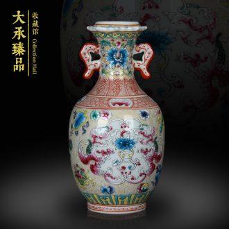 Antique Chinese hand made pastel jingdezhen ceramics vase phoenix song rich ancient frame, secretary of small handicraft
