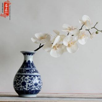 Jingdezhen ceramic blue and white porcelain vase furnishing articles antique bound branch lotus home sitting room desktop flower arranging water raise small expressions using