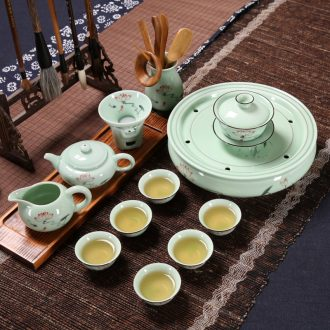 Longquan celadon household ceramic tea chaoshan kunfu tea tea cups GaiWanCha dish suits for Chinese teapot