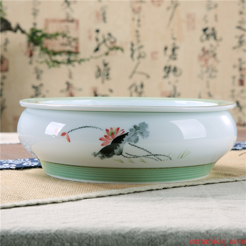 Ceramic double circular contracted household utensils impounding water kung fu tea tray tea tray trumpet tea sea ship 10 inches