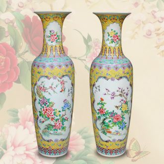 Classical Chinese style antique hand - made jingdezhen ceramics powder enamel of large vase hall opening gifts