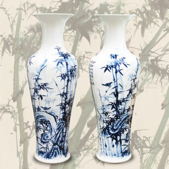 Blue and white bamboo to jingdezhen ceramics hand - made landed safely process home furnishing articles set big vase large hall