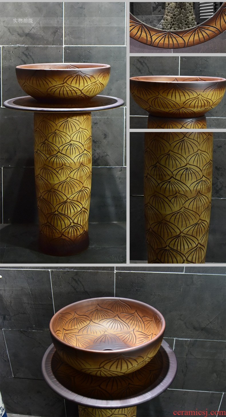 The sink basin of restoring ancient ways ceramic floor pillar pillar type lavatory small family toilet one - piece basin