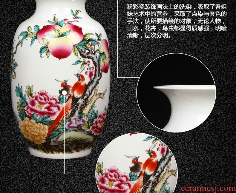 Chinese style of the ancients of jingdezhen ceramics pastel peach flower vase sitting room adornment handicraft furnishing articles study