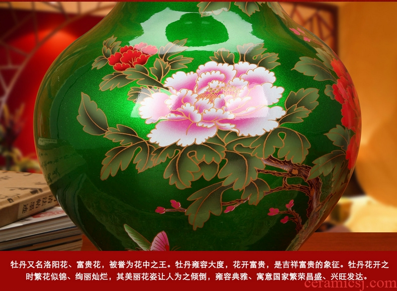 Jingdezhen ceramics high - grade crystal glaze green peony vases, I and fashionable household decorative furnishing articles