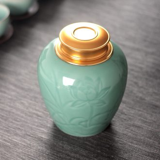 Large seal caddy fixings tea pu 'er household ceramic tea pot of longquan celadon porcelain pot lotus POTS