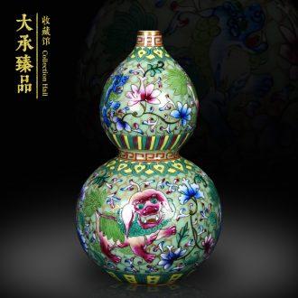 Antique hand - made jingdezhen ceramics enamel see colour green lion auspicious fuels the vase decoration craft collection furnishing articles