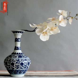 Jingdezhen blue and white porcelain vase furnishing articles narrow expressions using ceramics home sitting room adornment flowers flower arrangement water rich ancient frame
