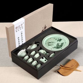 Celadon chaozhou kunfu tea tea cup lid bowl suit ceramic circular water small tea tray was gift boxes