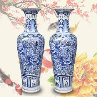 Jingdezhen blue and white peony flowers prosperous large hand - made ceramics vase lobby sitting room adornment is placed