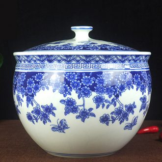 10 jins to jingdezhen ceramic barrel with cover ricer box 5 kg storage tank cylinder pickles pickled Chinese medicine tank