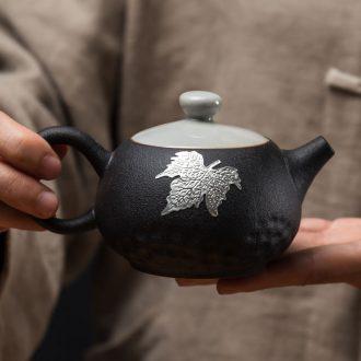 Black pottery xi shi teapot ceramic filter single pot teapot household kung fu tea set small Japanese contracted coarse TaoXi
