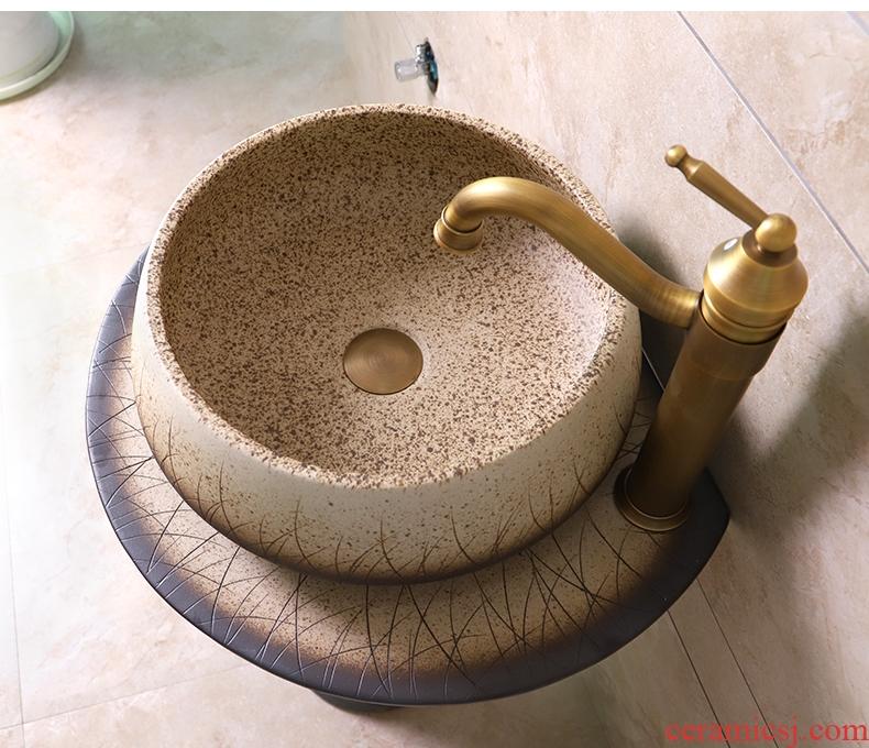 Pillar basin which contracted Siamese toilet on floor balcony ceramic art basin sink basin