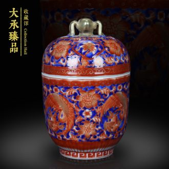 Jingdezhen ceramics red colored enamel spiders jinding phoenix and tank storage tank Chinese crafts collection