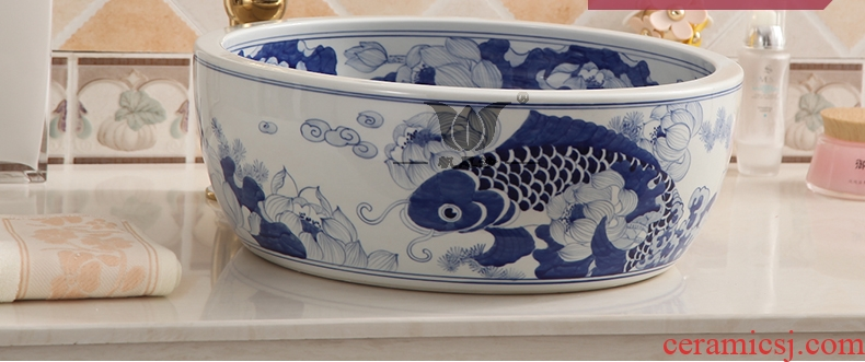 Restoring ancient ways of jingdezhen blue and white porcelain stage basin sink simple stage basin 40 cm round hotel toilet basin