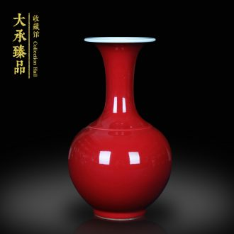 Jingdezhen ceramics classic Chinese red vase small Chinese rich ancient frame mesa adornment handicraft furnishing articles