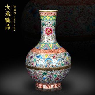 Jingdezhen ceramics vase see hand made enamel tenglong volume grass grain floral crafts vase collection