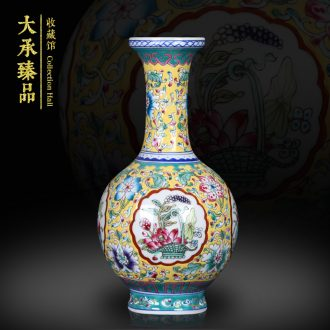 Jingdezhen antique Chinese study living room mesa small powder enamel handpainted altar vase of the reward bottle handicraft furnishing articles