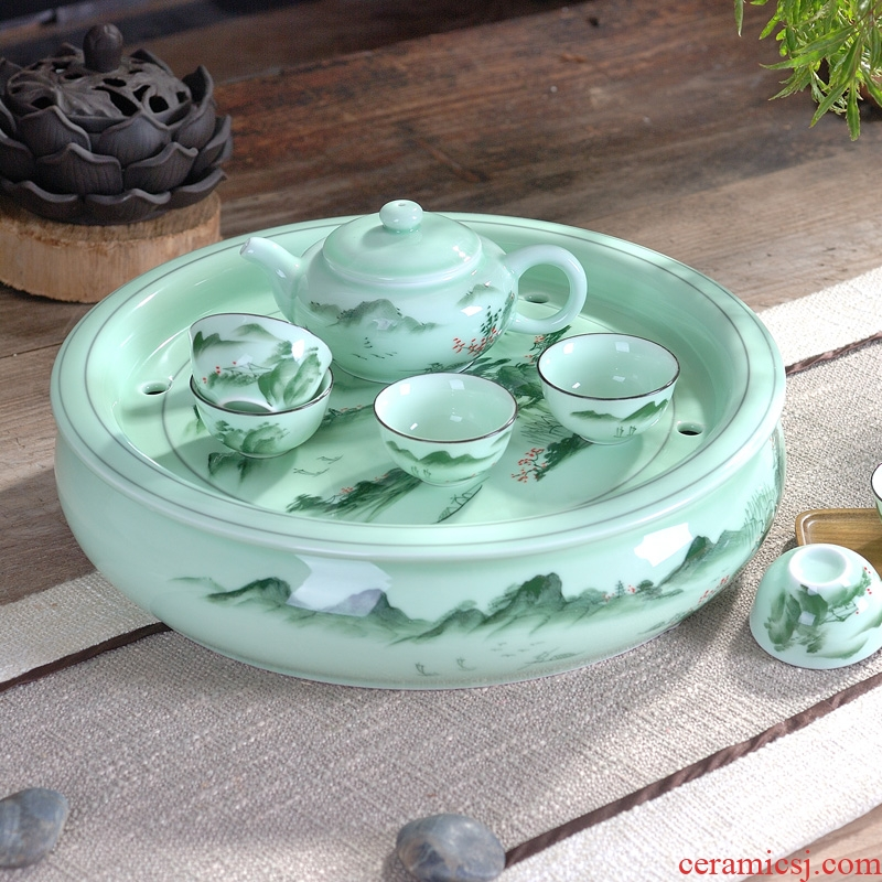 Household ceramic celadon chaoshan kungfu tea set storage double round tray cups a pot of six cups of the teapot