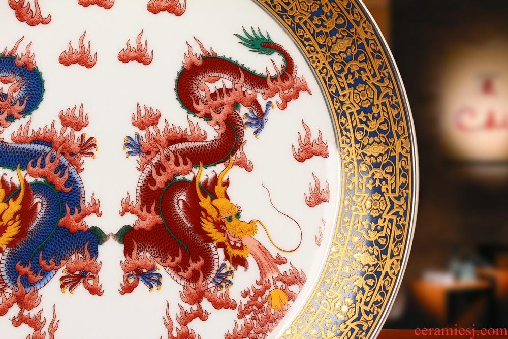 Jingdezhen ceramics key-2 luxury dragon playing bead faceplate hang dish plate Chinese style household decorative furnishing articles